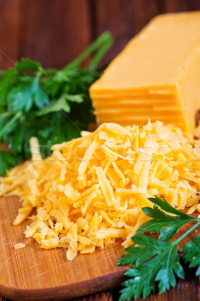 Cheddar sajt tábla asztal narancs kövér Stock fotó © tycoon