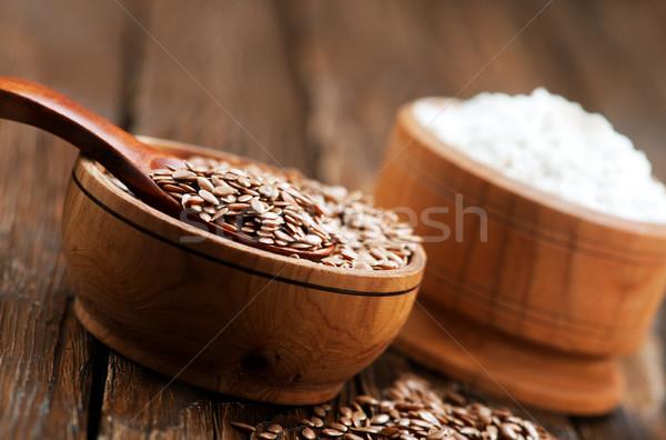 Nasion mąka drewniany stół jedzenie ziarna posiłek Zdjęcia stock © tycoon