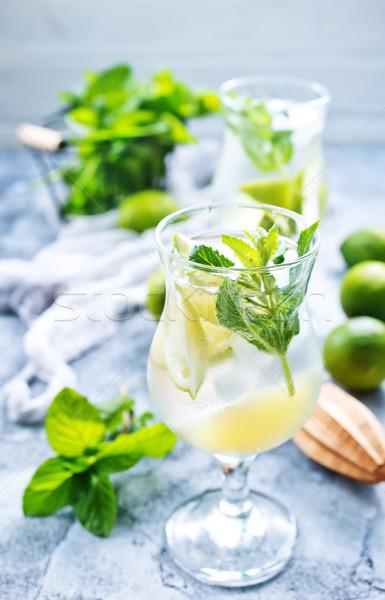 Mojito fresco vidro tabela verde coquetel Foto stock © tycoon