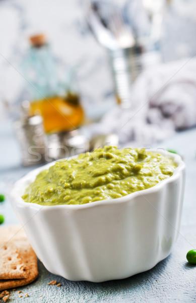 Foto stock: Verde · chícharos · aceite · de · oliva · cerámica · tazón · mesa