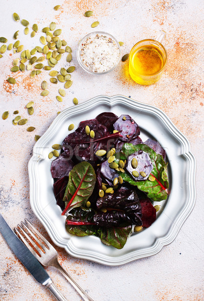 Stockfoto: Salade · noten · metaal · plaat · voorjaar · natuur