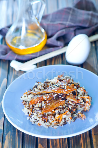 Stock photo: fried eel with rice