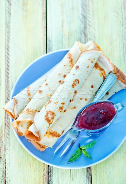 Stok fotoğraf: Krep · ahududu · reçel · plaka · gıda · sıcak