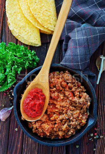 ストックフォト: フライド · 地上 · 肉 · ボウル · トマト · 準備