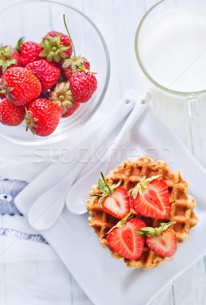 ワッフル 食品 フルーツ 背景 グループ 赤 ストックフォト © tycoon