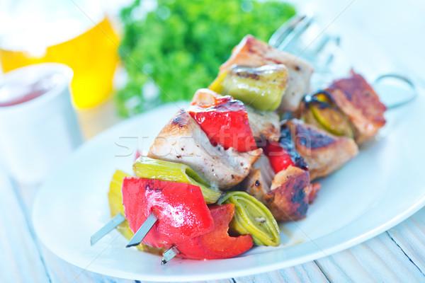 Kebab tablicy tabeli kurczaka obiedzie mięsa Zdjęcia stock © tycoon