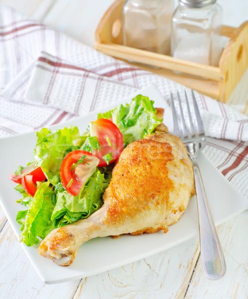 Brathähnchen Bein Gruppe Salat weiß Flügel Stock foto © tycoon