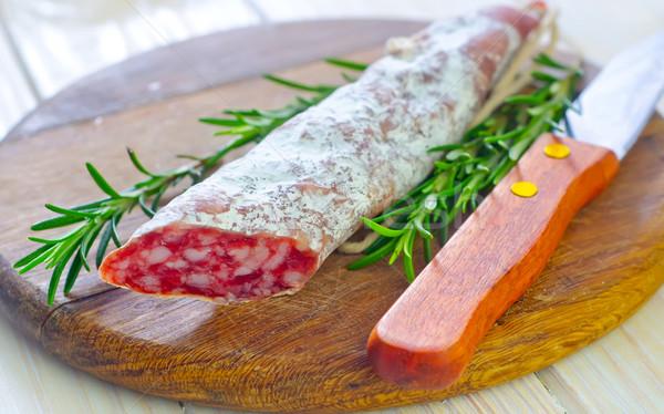 Szalámi étel kenyér hús kövér tábla Stock fotó © tycoon
