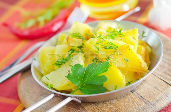Főtt krumpli étel vacsora tányér ebéd Stock fotó © tycoon
