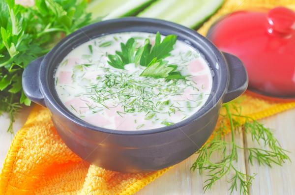 Stock fotó: Hideg · leves · zöld · szín · főzés · kanál