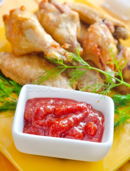 горячей мяса блюд курица-гриль крыльями красный Сток-фото © tycoon