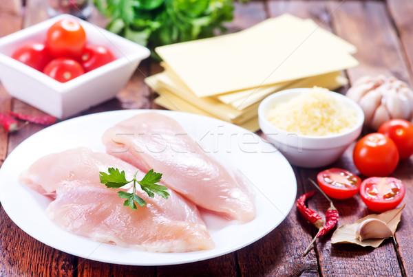 ストックフォト: 鶏 · フィレット · プレート · 表 · 葉 · 背景