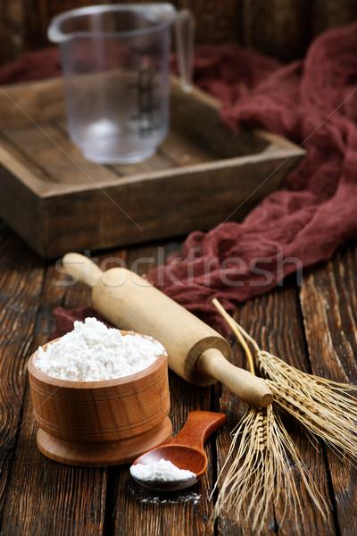 Glúten trigo tigela tabela comida madeira Foto stock © tycoon
