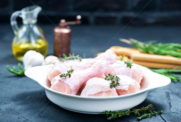 Pollo gambe greggio sale ciotola sfondo Foto d'archivio © tycoon
