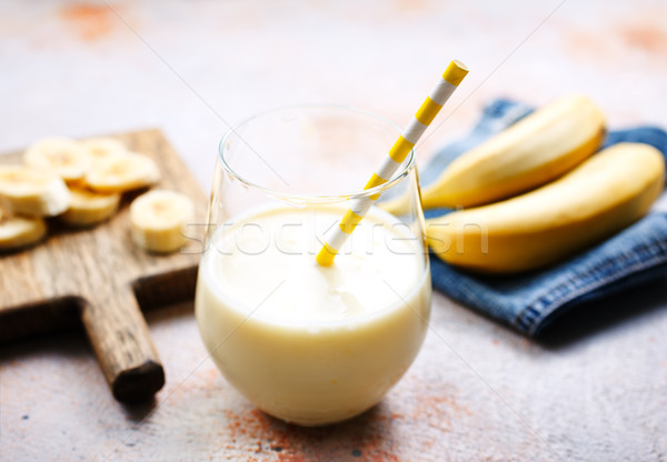 Banane smoothie verre fraîches alimentaire bois Photo stock © tycoon