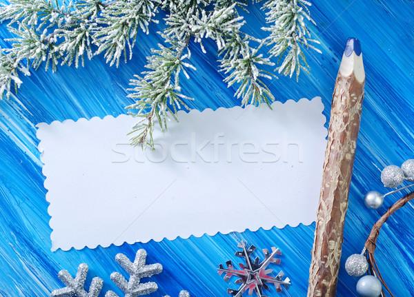 Stok fotoğraf: Noel · ağaç · çerçeve · posta · Retro · karanlık