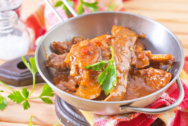 Stock photo: fried meat with tomato sauce