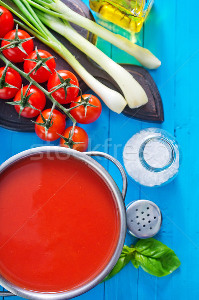 Sopa de tomate metal tigela tabela textura comida Foto stock © tycoon