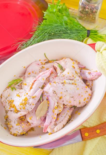 Kip vleugels voedsel groene diner huid Stockfoto © tycoon
