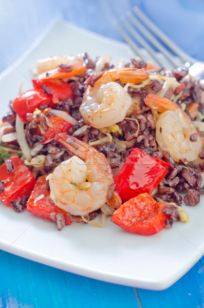 fried rice with shrimps and vegetables Stock photo © tycoon