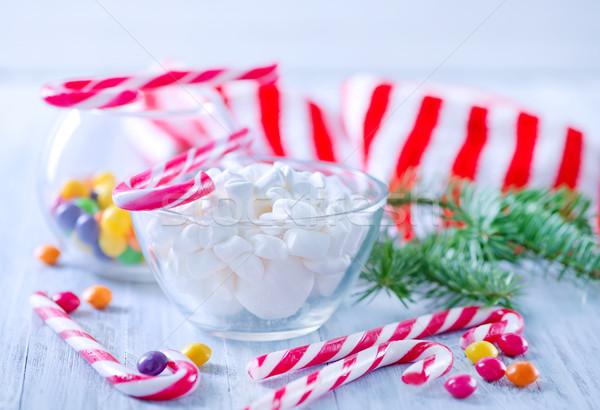 Malvavisco blanco tazón mesa alimentos madera Foto stock © tycoon