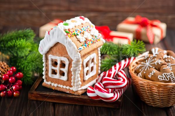 ストックフォト: 生姜 · クッキー · クリスマス · 表 · 家 · ツリー