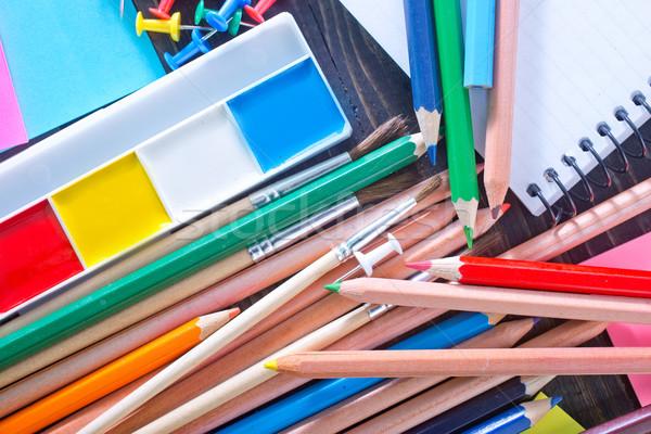 Okul malzemeleri öğrenci kırmızı renk kolej araç Stok fotoğraf © tycoon