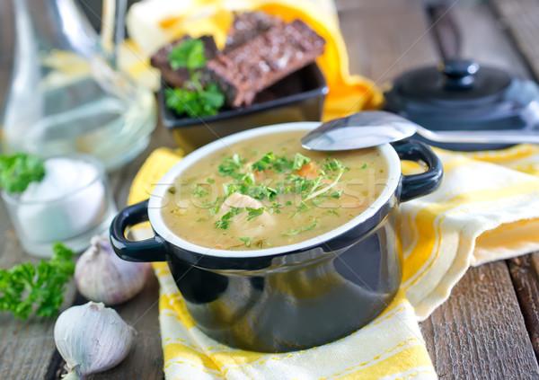 Stock fotó: Leves · fa · asztal · étel · konyha · asztal · hús