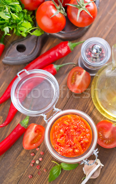Molho de tomate vermelho cor colher mexicano fresco Foto stock © tycoon