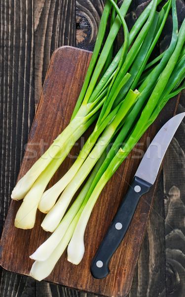 Yeşil soğan tahta tablo bahar ahşap doğa Stok fotoğraf © tycoon