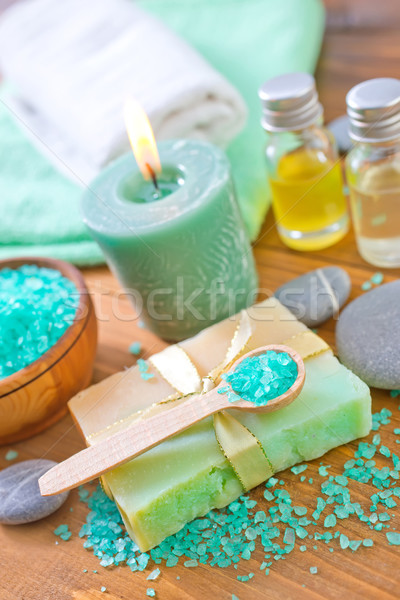 Foto stock: Sabão · sal · sal · do · mar · toalhas · luz · verde