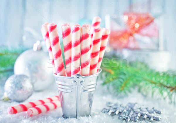 Keksz karácsony dekoráció asztal háttér cukorka Stock fotó © tycoon