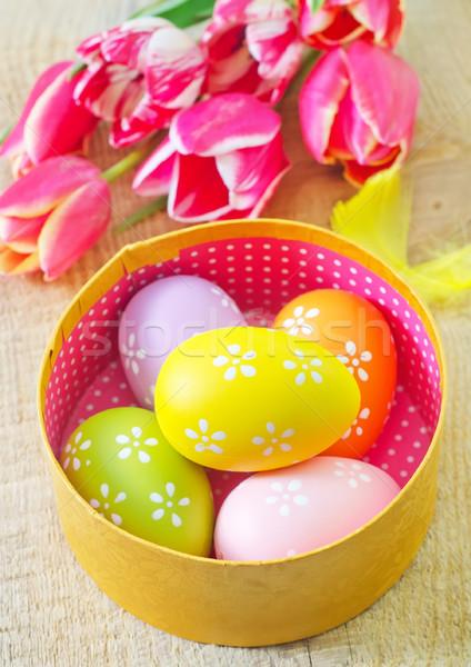 пасхальных яиц Пасху цветы домой яйцо зеленый Сток-фото © tycoon