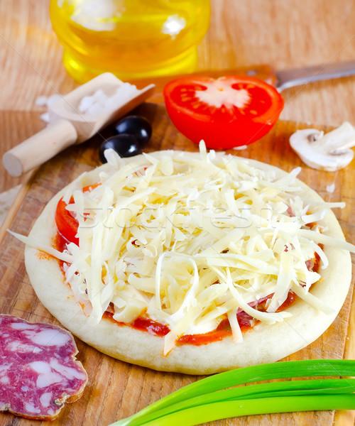 ピザ 家族 ホーム キッチン 色 トマト ストックフォト © tycoon