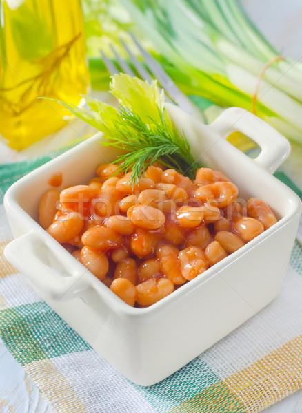 Bianco bean salsa di pomodoro verde cena piatto Foto d'archivio © tycoon
