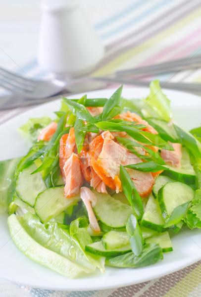 Salada salmão pepino peixe verde jantar Foto stock © tycoon