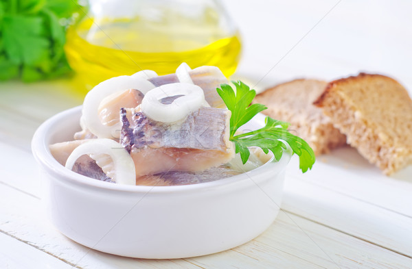 herring with onion and bread Stock photo © tycoon