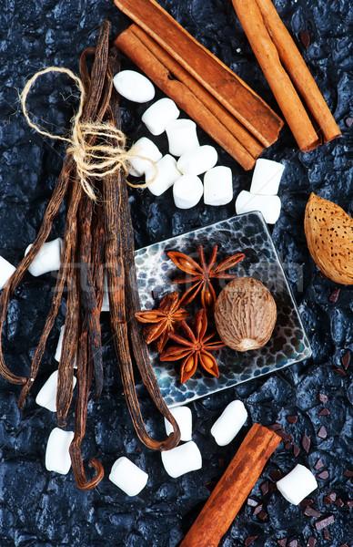 Stok fotoğraf: Lezzet · baharat · tablo · mutfak · arka · plan · yaprakları