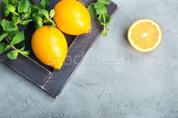 lemon with mint Stock photo © tycoon