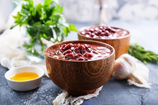 красный боб соус чаши таблице пластина Сток-фото © tycoon