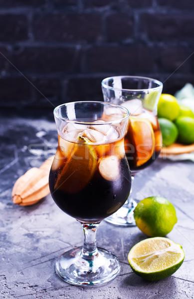 Stockfoto: Drinken · ijs · kalk · vers · mint · bar