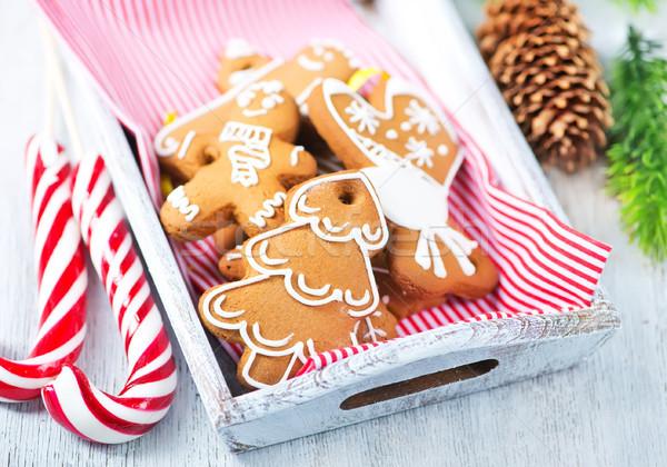 Imbir cookie christmas tabeli domu drzewo Zdjęcia stock © tycoon