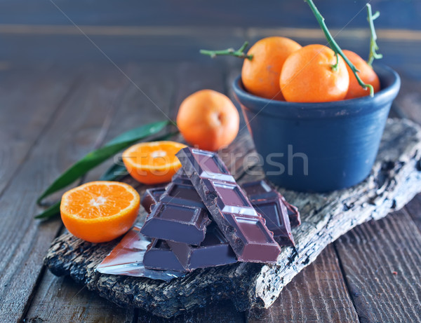 chocolate and tangerines Stock photo © tycoon
