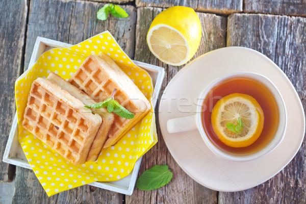Tea citrom waffle édes asztal torta Stock fotó © tycoon