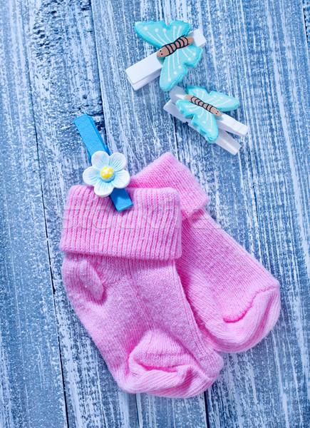 Baby kleding sokken verjaardag achtergrond ruimte Stockfoto © tycoon