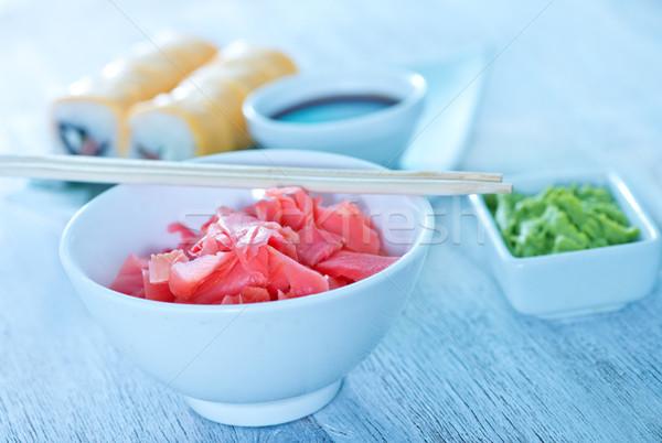Sushi gengibre branco tabela comida peixe Foto stock © tycoon