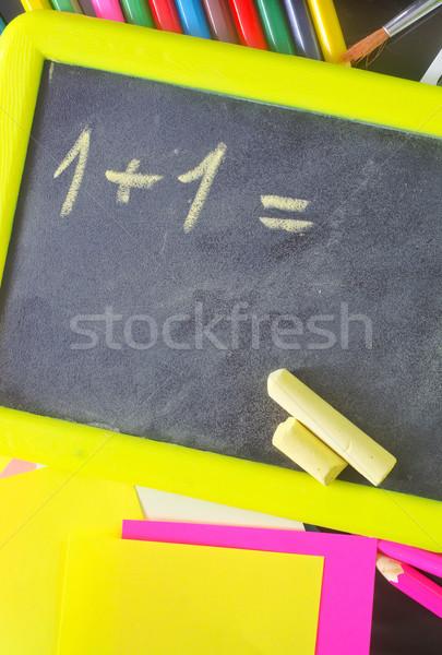 Tableau noir fournitures scolaires école portable rouge classe Photo stock © tycoon