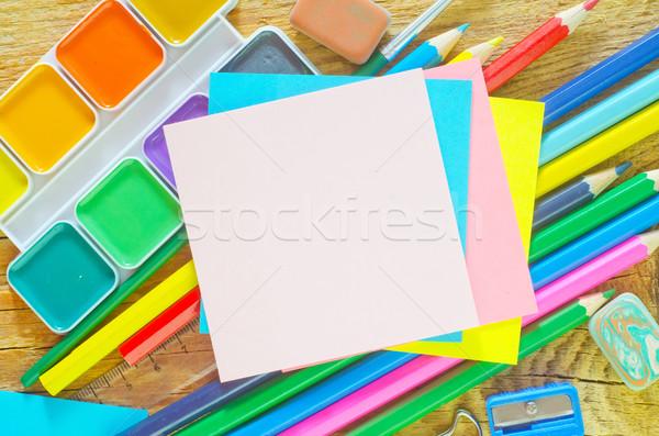 Fournitures scolaires bureau bois crayon éducation espace Photo stock © tycoon