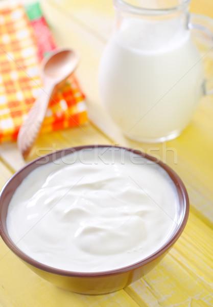 Zure room melk voedsel licht glas plaat Stockfoto © tycoon