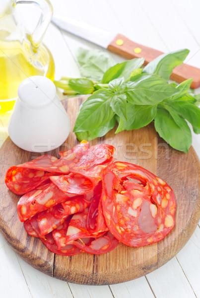 Salame vermelho prato café da manhã pimenta comer Foto stock © tycoon